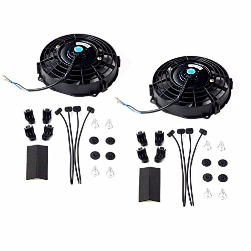Set of 2 Black 7 inch 12V 80W Slim Pull Push Electric Radiator Engine Cooling Fan Mounting Kit
