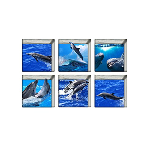 H4S Peel and Stick Non Slip Vinyl Bathtub Stickers Bathtub Appliques Bathtub Decals Pack of 6, Dolphins in Sea Pattern