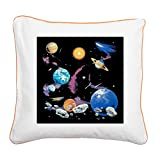 Square Canvas Throw Pillow Orange Solar System And Asteroids