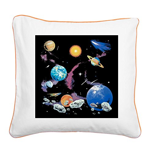 Square Canvas Throw Pillow Orange Solar System And Asteroids by Royal Lion