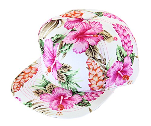 (RW Floral Hawaiian Adjustable Snapback Hats Baseball Caps (Pink/Flat))