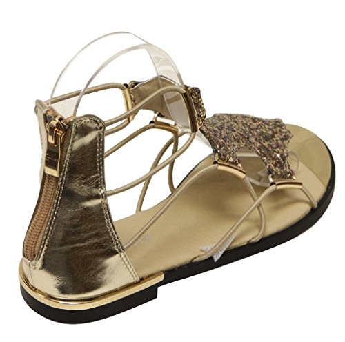 Forever Rosie-30 Womens Glitter Gold Trim Stripes Zip Closure Metallic Flat Sandals Gold 6 zADKJILq