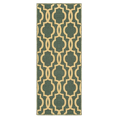 Custom Size Teal-Blue Moroccan Trellis Rubber Backed Non-Slip Hallway Stair Runner Rug 22in X 6ft