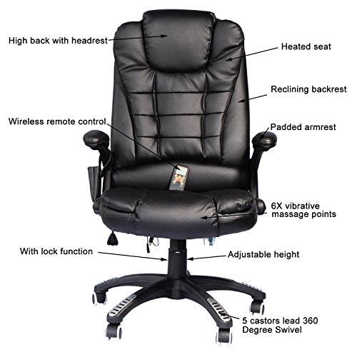 amazon com homcom high back executive ergonomic pu leather heated