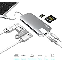 KODLIX GN30H USB-C Hub Type-C Adapter with PD Charging, 4K HDMI @30Hz/ 1000M Ethernet/ 3 USB 3.0 Ports/ TF SD Card Reader for Macbook (Pro), Google Chromebook 2016