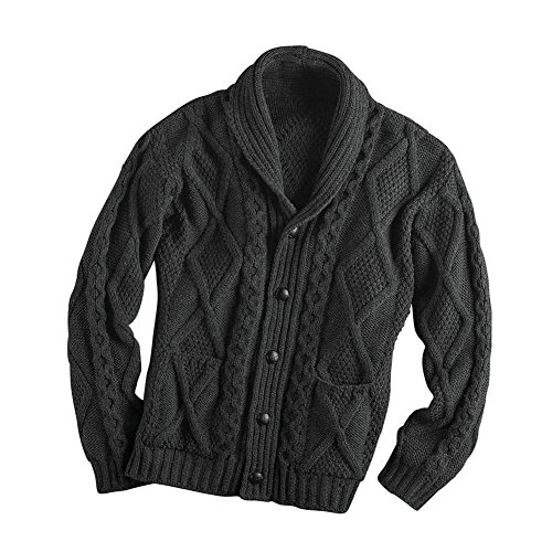 West End Knitwear Men's Aran Shawl Collar Cable Knit Cardigan Sweater - Charcoal - Large -