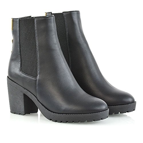 Heel En Glam Plateforme Chaussures Femmes Synthtique Cuir Faux Bottines 8 Gousset Dames Block Chunky Chelsea Taille Bottes Noir lastique Essex Daim 3 d0ICnWZ7Z