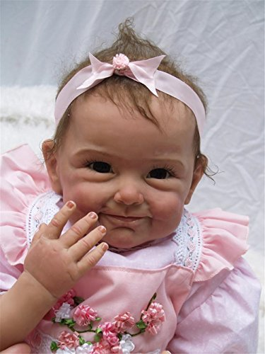 [Reborn Baby Doll Soft Silicone Body Pink Smiley Face Dolls Artists to Collect 22-Inch Fan Moon] (Cabbage Head Costume)