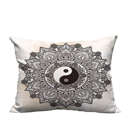 YouXianHome Home Decor Pillowcase Yin and yang Tao Mandala Symbol Round Ornament Pattern Vector Isolated Paisley Background Durable Polyester Fabric(Double-Sided Printing) 11x19.5 inch