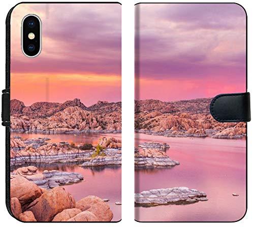 (Apple iPhone Xs MAX Flip Fabric Wallet Case Image ID: 30862108 Sunset at Watson Lake Prescott Arizona)