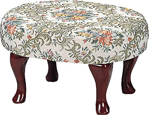 - Upholstered Cherry Wood Foot Stool Wooden Footstool Part: 3422