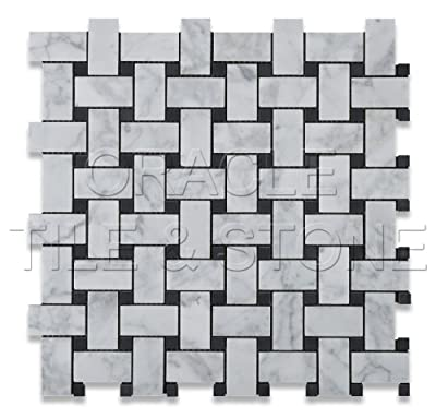 Bianco Carrara White Marble Polished Basketweave Mosaic Tile with Black Dots by Oracle Tile & Stone