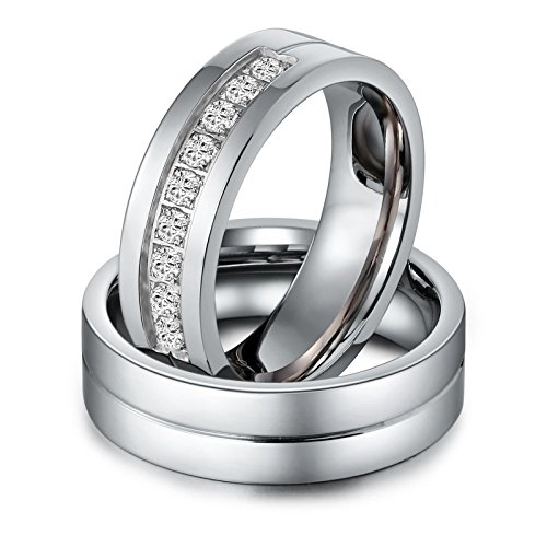 Aeici Stianless Steel Silver ''Forever Love'' Couples Promise Ring Romantic Couples Gift Women Size 9 & 10 by Aeici (Image #5)'
