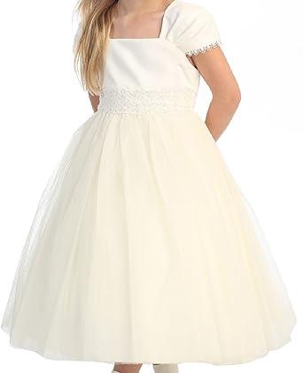 Flower Girl Cap Sleeved Beaded White Dress First Holy Communion Size 2-16 (8