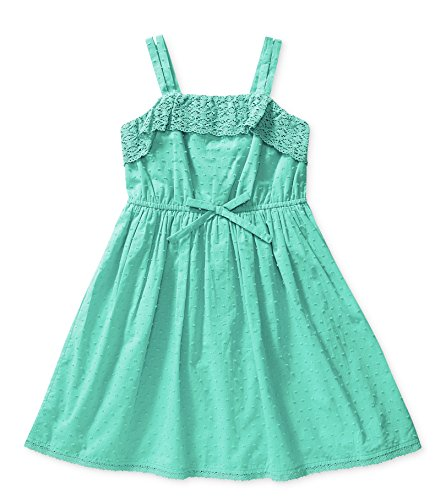 Bloome Big Girls Spring Crochet-Trim Dress With Square Neck - Mint Green - - Neck Dress Crochet Square