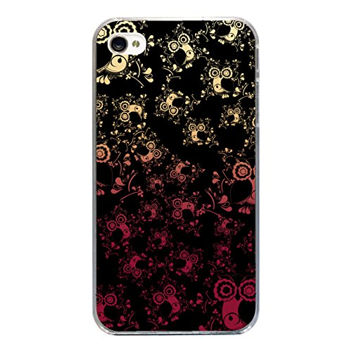 "Disagu Design Case Coque pour Apple iPhone 4 Housse etui coque pochette ""Eulenmuster schwarz"""