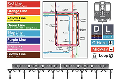 Downtown Chicago Illinois North Michigan Avenue Rail Transit Map Mural Giant Poster 54x36 inch