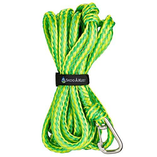 Skog Å Kust Premium PWC Dock Line | Single-Pack Heavy Duty Braided Rope, 1/2'' x 21ft Length, with 316 Stainless Steel Clip