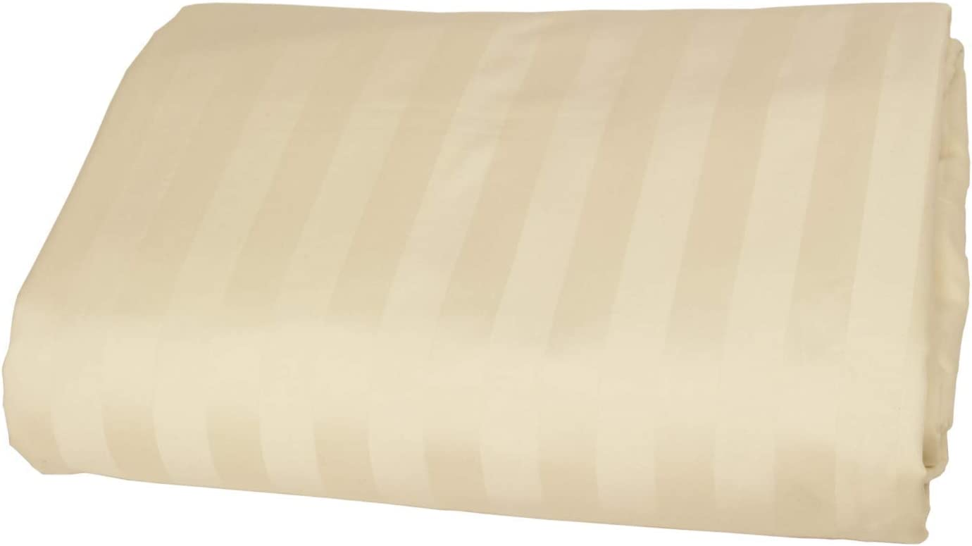 Myra Home Collection Flat Sheet Only 1 Piece Flat Sheet Cotton 700 Thread Count Queen Ivory Stripe