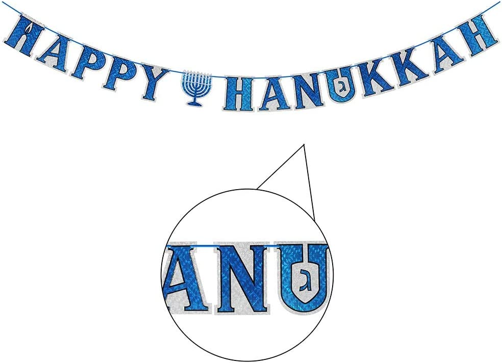 Zion Judaica Happy Hanukkah Holographic Letter Banner on Ribbon 75''