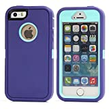 MOONCASE iPhone SE Case, 3 Layers Heavy Duty Defender Hybrid Soft TPU +PC Bumper Triple Shockproof Drop Resistance Protective Case Cover for Apple iPhone 5 / 5S / iPhone SE -Purple Blue