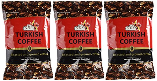 Elite Turkish Coffee Roasted and Ground 3.5 Ounce (3 Pack)