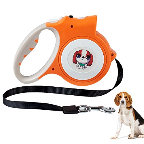 Bauttf Retractable Dog Leash, Extendable Dog Leash With Light for Samll Medium Dogs Walking and Training, Easy Grip, Lock & Release Mechanism