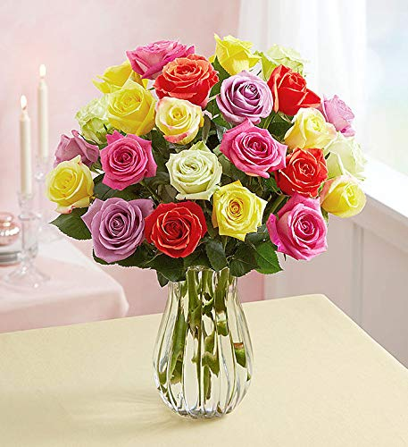 1800Flowers Assorted Roses Flower Bouquet with Clear Vase (24 Flowers)
