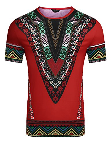 Red Dashiki - COOFANDY Mens African Print Shirt Dashiki Fashion Short Sleeve T Shirts Top Tee,Red,X-Large