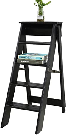 Escalera Plegable de Madera de 5 Pasos - Escalera 5 Pasos Ligero portátil para niños Adultos,Altura 87 cm,Negro: Amazon.es: Hogar
