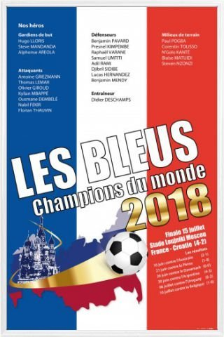 1art1 Football Poster Frame  - France World Cup Champion 201