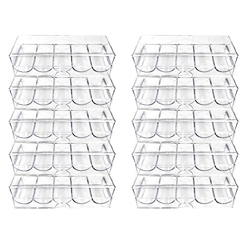 YH Poker Clear Acrylic Poker Chip Tray With Cover-Set of 10 by YH Poker