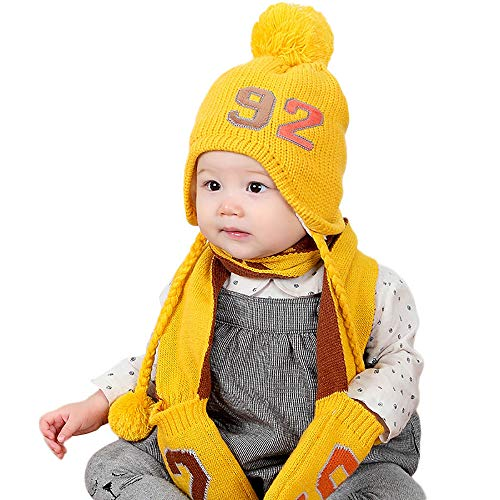 Yezijin 2-Pieces Girls Boys Children Winter Warm Baby Gloves Cap Wool Knit Hat ()