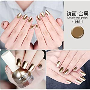 Quartly 10ml Flow Gold Mirror Chrome Effect Nail Polish Foil Nails Art Glitter Nail Beauty (M)