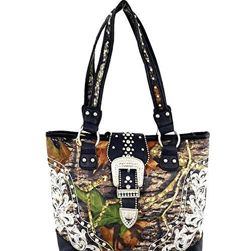 (am5-1)mossy Oak Studded Camouflage Print Tote Handbag-mt1507838 (mo/bk)