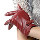 Nappaglo Women's Genuine Lambskin Leather Gloves Winter Warm Simple Gloves with Decorative White Stitching Bow (Touchscreen or Non-Touchscreen) (S (Palm Girth:6.5''-7''), Wine Red (Non-Touchscreen))