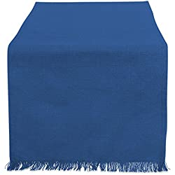"""DII Cotton Woven Heavyweight Table Runner with Decorative Fringe for Spring, Summer, Family Dinners, Outdoor Parties, & Everyday Use (14x72"""") Navy Blue Solid"""