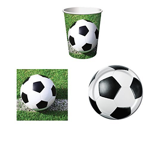(Sports Fanatic Soccer Party Supplies Set for 16: Plates, Napkins, and Cups)