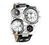 KitMax (TM) Unisex Multi Time Zone PU Leather Band Quartz Travel Wrist Watches with Compass and Centigrade Thermometer (White)