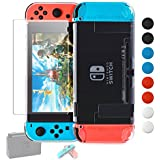 Dockable Case Compatible with Nintendo Switch,Cover Compatible Nintendo Switch Console and Soft TPU Grip Case Compatible with Joycons Includes Glass Screen Protector, 8 Thumb Grips Caps