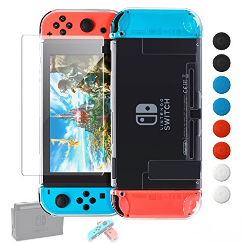 - Dockable Case Compatible with Nintendo Switch,Cover Compatible Nintendo Switch Console and Soft TPU Grip Case Compatible with Joycons Includes Glass Screen Protector, 8 Thumb Grips Caps