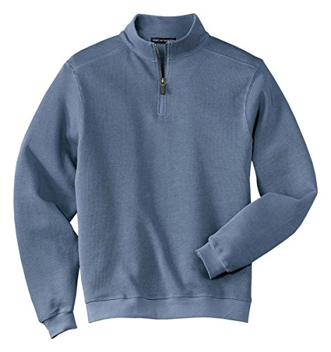 Port Authority Mens Perfect Flatback Rib 1 4 Zip Pullover Harbor Blue Xxxxl