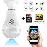 Wifi Light Bulb Camera,1080P Wireless Security Camera Bulb- 360° Fisheye Lens Camera Bulb VR Panoramic Bulb Camera,Night Vision and Motion Detection for iPhone/Android/Windows- Include 32GB Card