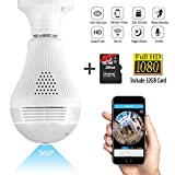 Wifi Light Bulb Camera,1080P Wireless Security Camera Light Bulb- 360° Fisheye Lens Camera Bulb VR Panoramic Bulb Camera,Night Vision and Motion Detection for iPhone/Android/Windows- Include 32GB Card