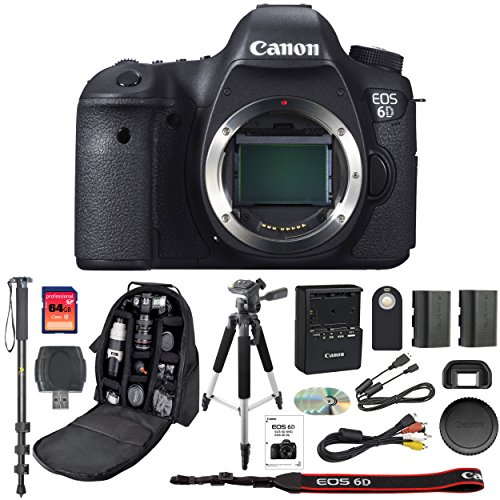 Canon EOS 6D Digital SLR Camera With Wifi Body Only + 64GB SDXC Card + Deluxe Tripod + Pro Monopod + SLR Backpack + Spare LP-E6 Battery + Remote Control + SD Reader & More – International Version