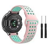 MoKo Garmin Forerunner 235 Watch Band, Soft Silicone Replacement Watch Band for Garmin Forerunner 235/220/230/620/630/735XT, Approach S20/S5/S6 Smart Watch, Pink + Gem Green Review