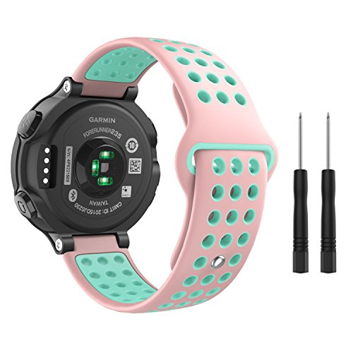 MoKo Garmin Forerunner 235 Watch Band, Soft Silicone Replacement Watch Band for Garmin Forerunner 235/220/230/620/630/735XT, Approach S20/S5/S6 Smart Watch, Pink + Gem Green Review