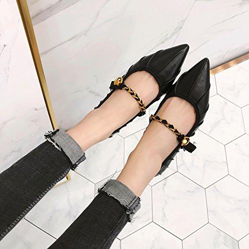 coreanos con profunda zapatos de pala poco plana SFSYDDY hebilla zapatos con Pointed negro todo boca boca juego coreanos de 0EfB7q6