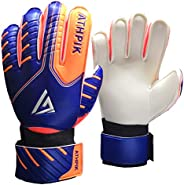 Soccer Goalie Gloves, Junior Indoor & Outdoor Goalkeeper Gloves with Finger Spines Protection and Strong G