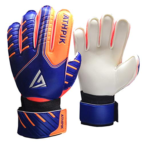 Kids & Youth Soccer Goalkeeper Gloves, Junior Indoor & Outdoor Goalie Gloves with Finger Spines Protection and Strong Grip for Girls and Boys, Size 6, 30 Days Warranty (Gloves Finger Goalkeeper Spines)